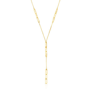 Italian 14kt Yellow Gold Paper Clip Link Y-Necklace