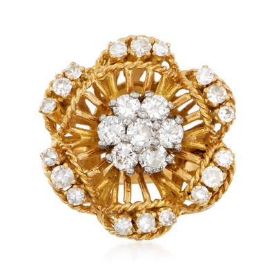 C. 1970 Vintage 1.20 ct. t.w. Diamond Flower Cluster Ring in 18kt Yellow Gold