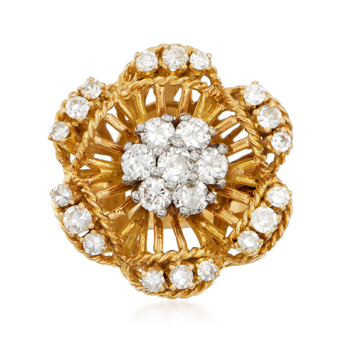 C. 1970 Vintage 1.20 ct. t.w. Diamond Flower Cluster Ring in 18kt Yellow Gold. Size 5.5, , default