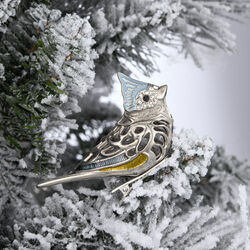 "Reed & Barton ""Best of the Season"" Silver Plate Titmouse Bird Ornament With Jewels and Blue Enamel, , default"
