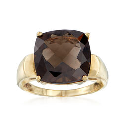 C. 1990 Vintage 6.35 Carat Smoky Quartz in 10kt Yellow Gold, , default
