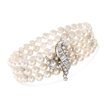 """C. 1950 Vintage 2.35 ct. t.w. Diamond and 5.5-6mm Cultured Pearl Bracelet in 14kt White Gold. 7.5"""", , default"""