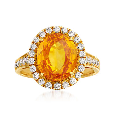 5.25 Carat Yellow Sapphire and .60 ct. t.w. Diamond Ring in 18kt Yellow Gold