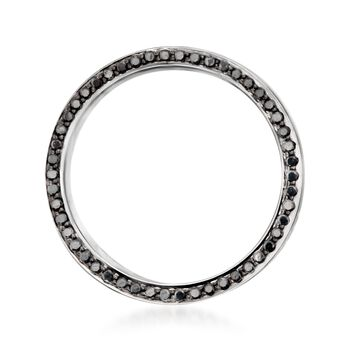 Henri Daussi Men's 8mm 14kt White Gold Wedding Ring With .80 ct. t.w. Black Diamonds. Size 10, , default