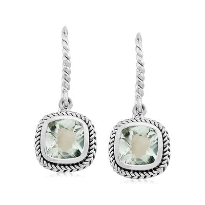 4.00 ct. t.w. Green Prasiolite Roped Drop Earrings in Sterling Silver