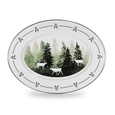 "Golden Rabbit ""Forest Glen"" Oval Platter, , default"