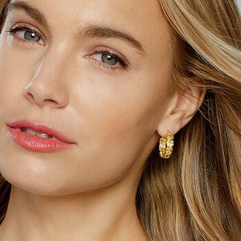 """14kt Yellow Gold Byzantine Hoop Earrings. 3/4"""""""