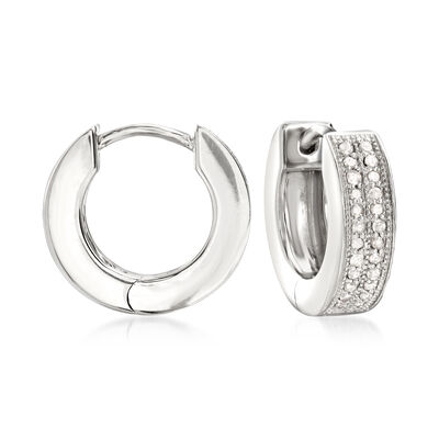 .25 ct. t.w. Diamond Double-Row Hoop Earrings in Sterling Silver, , default