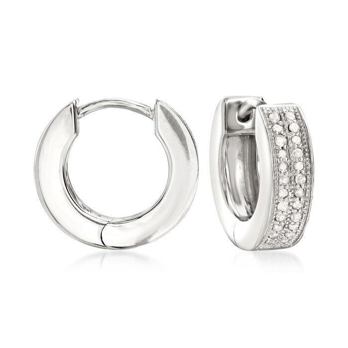 """.25 ct. t.w. Diamond Double-Row Hoop Earrings in Sterling Silver. 1/2"""""""