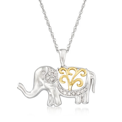 .14. ct. t.w. Diamond Openwork Elephant Pendant Necklace in Sterling Silver and 14kt Yellow Gold