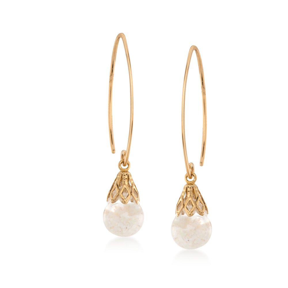 e37cdc1a2 Free-Form Opal Drop Earrings in 14kt Yellow Gold | Ross-Simons