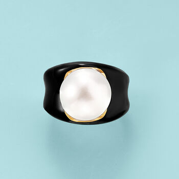 13.5mm Cultured Pearl and Black Agate Ring in 14kt Yellow Gold. Size 5, , default