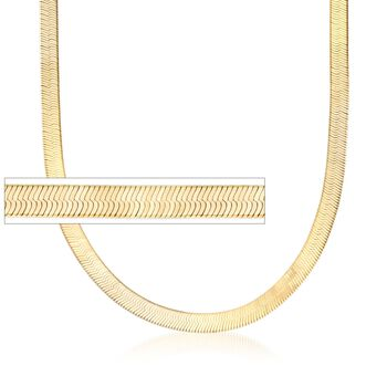 Italian 6mm 24kt Gold Over Sterling Silver Herringbone Chain Necklace, , default