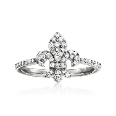 .33 ct. t.w. Diamond Fleur-De-Lis Ring in Sterling Silver