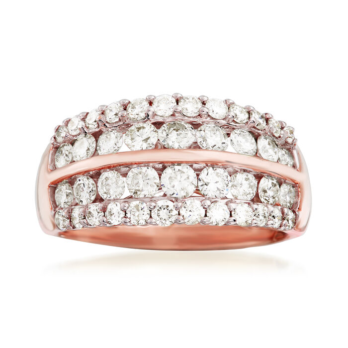 1.50 ct. t.w. Diamond Multi-Row Wedding Ring in 14kt Rose Gold. Size 7, , default