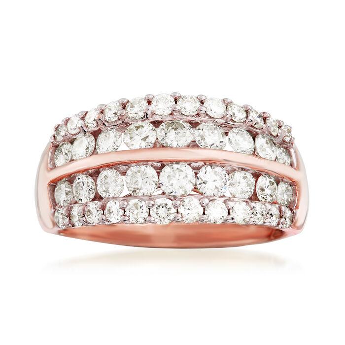 1.50 ct. t.w. Diamond Multi-Row Wedding Ring in 14kt Rose Gold