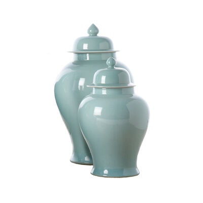Set of 2 Aquamarine Porcelain Covered Temple Jars, , default