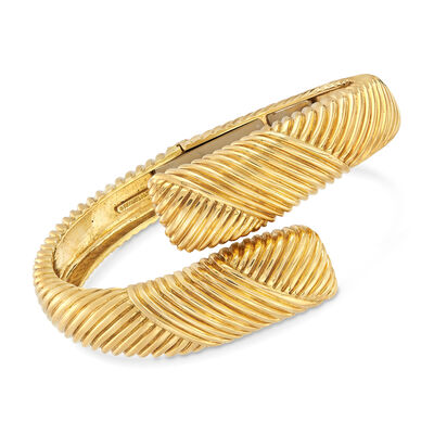C. 1990 Vintage Tiffany Jewelry 18kt Yellow Gold Ribbed Bangle, , default