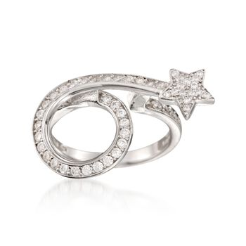 .70 ct. t.w. CZ Shooting Star Ring in Sterling Silver, , default