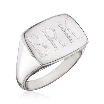 Italian Sterling Silver Personalized Rectangular Top Ring