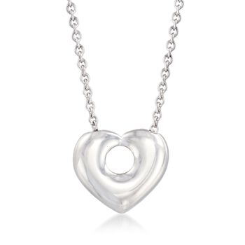 "Italian Sterling Silver Open-Space Heart Necklace. 17.75"", , default"