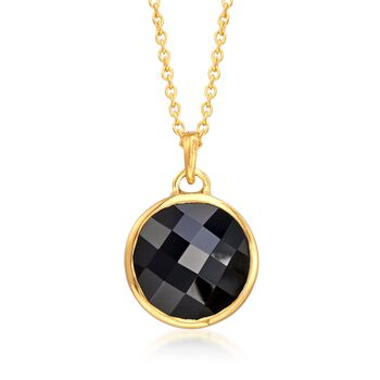 """Black Onyx Pendant Necklace in 18kt Yellow Gold Over Sterling Silver. 16"""", , default"""