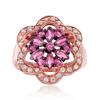 1.10 ct. t.w. Pink Tourmaline and .70 ct. t.w. White Zircon Ring in 18kt Rose Gold Over Sterling Silver, , default