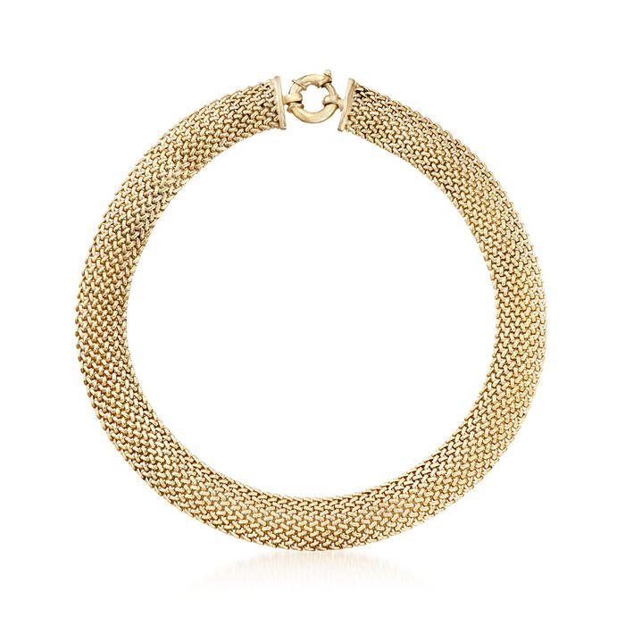 """Italian 18kt Yellow Gold Over Sterling Silver Mesh Necklace. 18"""""""
