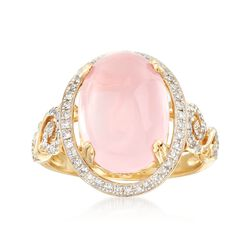 Rose Quartz and .32 ct. t.w. Diamond Ring in 14kt Yellow Gold, , default