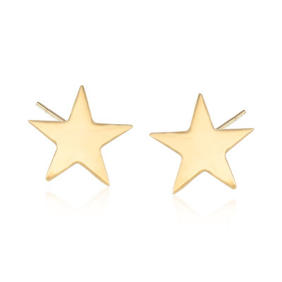 18kt Yellow Gold Star Stud Earrings, , default