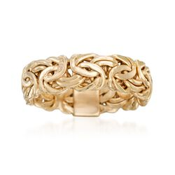 18kt Yellow Gold Over Sterling Silver Byzantine Ring, , default