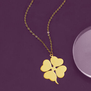 Italian 14kt Yellow Gold Four-Leaf Clover Pendant Necklace