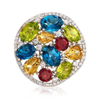 10.80 ct. t.w. Multi-Gemstone Ring in Sterling Silver, , default