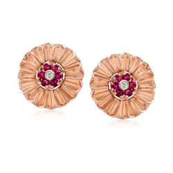 C. 1940 Vintage .75 ct. t.w. Ruby and .10 ct. t.w. Diamond Clip-On Earrings in 14kt Rose Gold , , default