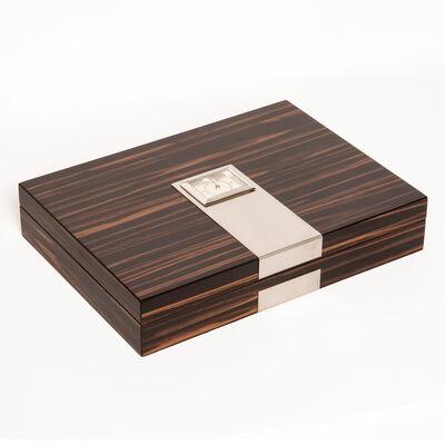Brouk & Co. Matte Ebony Wood and Metal Cigar Humidor, , default