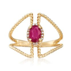 .50 Carat Ruby Open Space Ring With Diamond Accents in 14kt Yellow Gold, , default