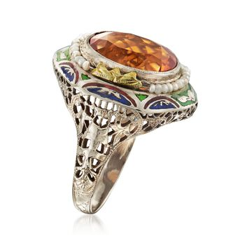 C. 1950 Vintage 4.00 Carat Citrine and Cultured Seed Pearl Ring with Enamel in 14kt Two-Tone Gold. Size 6.5, , default