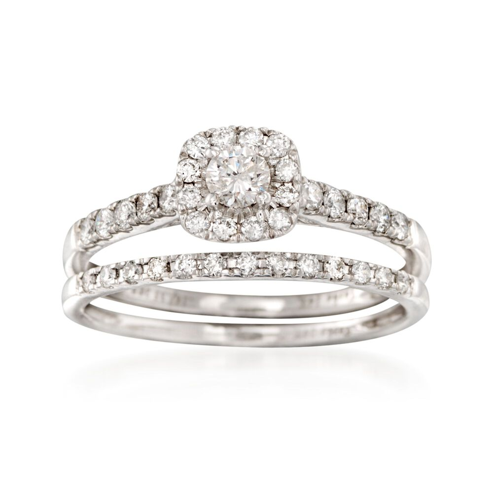 T W Diamond Bridal Set Engagement And Wedding Rings In 14kt White