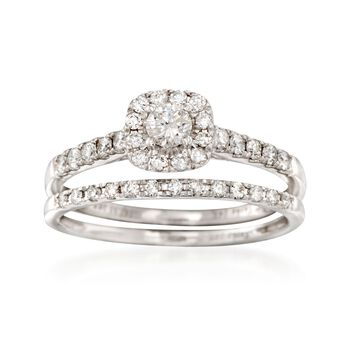.50 ct. t.w. Diamond Bridal Set: Engagement and Wedding Rings in 14kt White Gold, , default