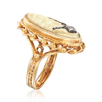 C. 1950 Vintage Shell Cameo Ring with Diamond Accent in 14kt Yellow Gold. Size 5