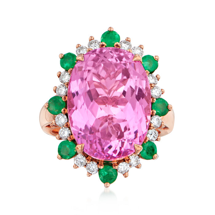 18.00 Carat Kunzite, 1.00 ct. t.w. Emerald and .52 ct. t.w. Diamond Ring in 18kt Rose Gold