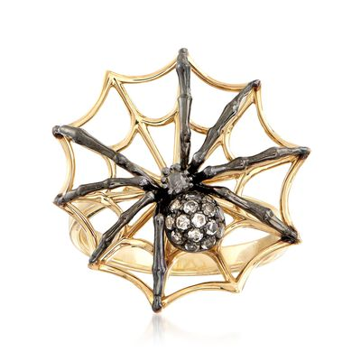 .10 ct. t.w. White Topaz Spider Ring in 18kt Gold Over Sterling
