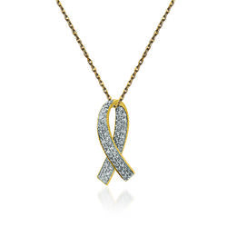 ".30 ct. t.w. Diamond Breast Cancer Awareness Pendant Necklace in 14kt Yellow Gold. 18"", , default"