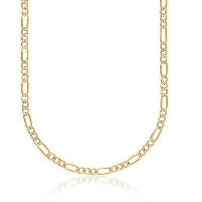Men's 5.8mm 14kt Two-Tone Gold Diamond-Cut and Polished Figaro Chain Necklace, , default