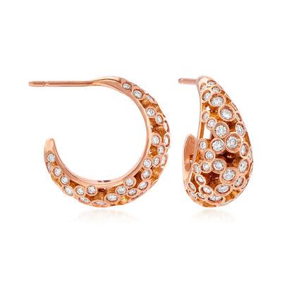 C. 1990 Vintage Piero Milano 1.91 ct. t.w. Diamond C-Hoop Earrings in 18kt Rose Gold