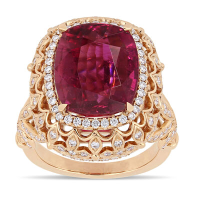 7.63 Carat Certified Pink Tourmaline and 1.12 ct. t.w. Diamond Cocktail Ring in 14kt Rose Gold