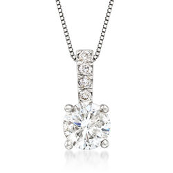 """1.00 Carat Diamond Pendant Necklace With .05 ct. t.w. Diamond Bale in 14kt White Gold. 18"""", , default"""