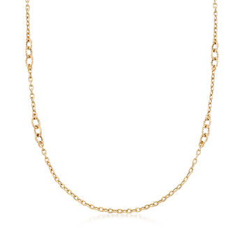 Italian 18kt Yellow Gold Cable-Link Necklace, , default