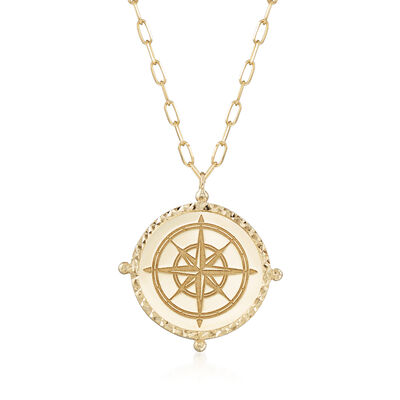 14kt Yellow Gold North Star Medallion Necklace, , default