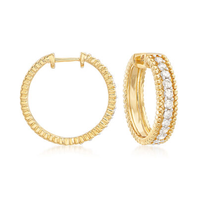 1.00 ct. t.w. Diamond Beaded Hoop Earrings in 18kt Gold Over Sterling